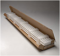 Custom foam protective packaging for fluorescent light bulgs
