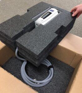 Custom foam box insert for medical device packaging